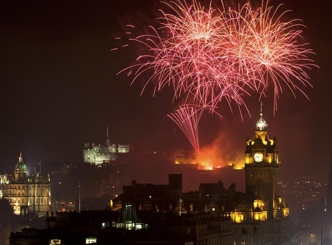 New Year's Eve, fireworks over Edinburgh Castle, Scotland