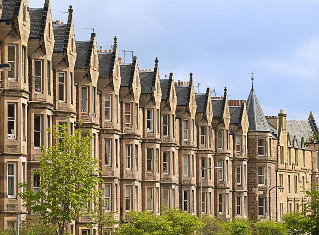Victorian tenement housing in Edinburgh, Scotland