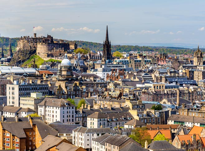 View of the city centre of Edinburgh, Scotland