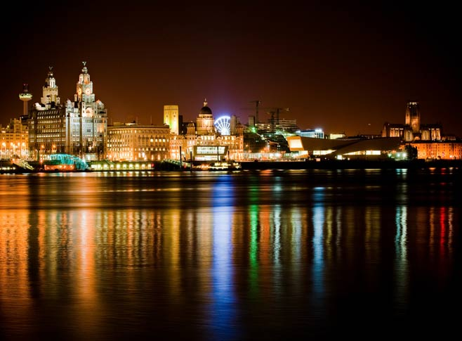 Liverpool city at night