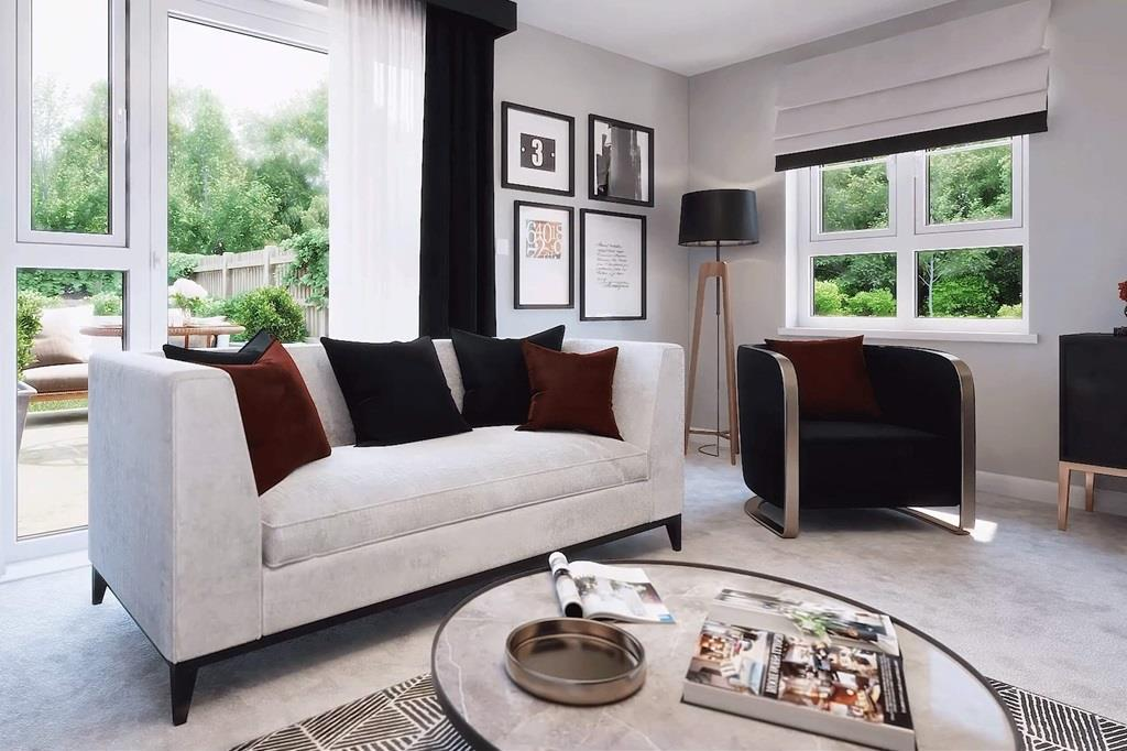 Lounge of the 3 bed home, The Abergeldie leading out to back garden