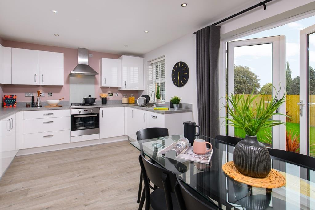 The Archford Show Home kitchen with French doors to the garden