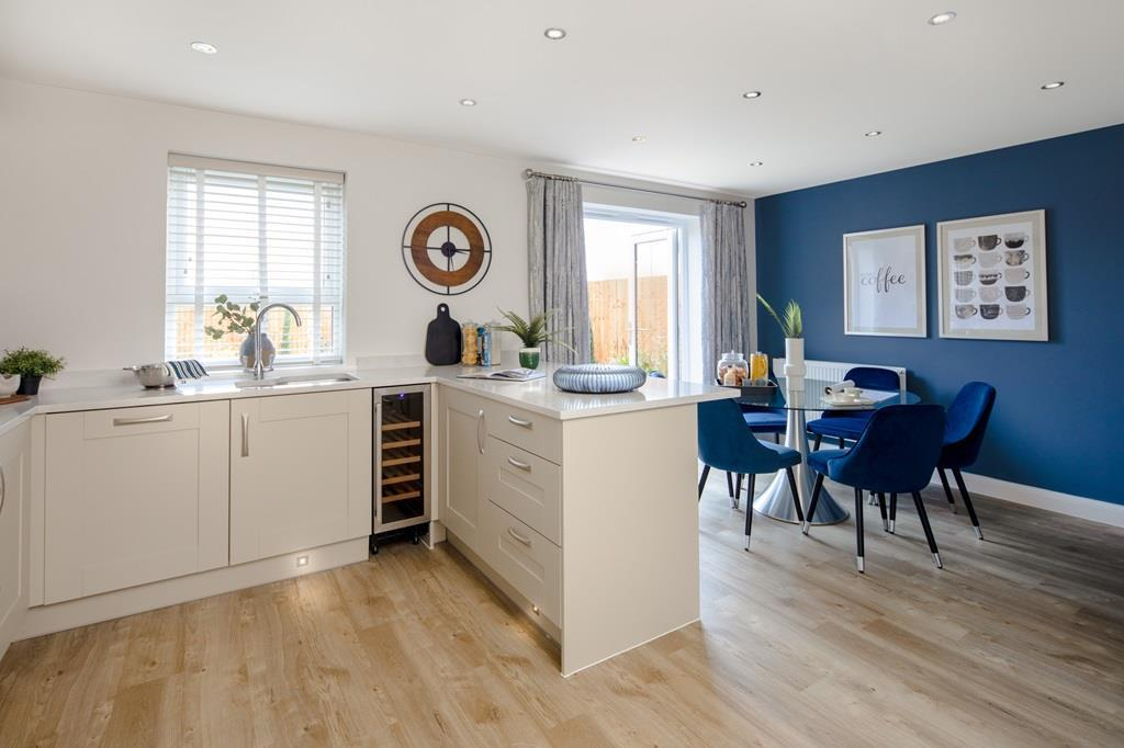 Inside view of open plan kitchen. The Chester. 4 bed home.