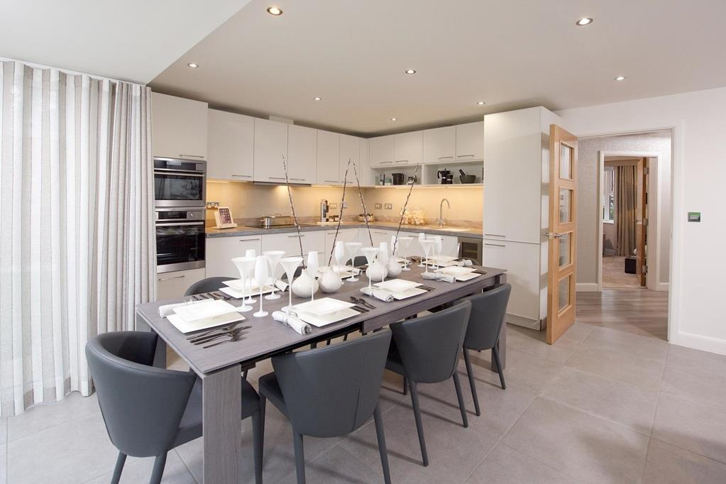 Open plan kitchen with family/dining area