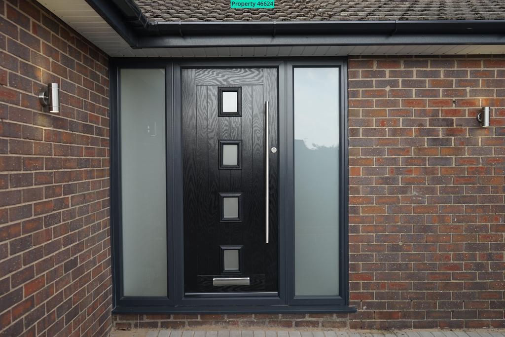 Front door with external lights