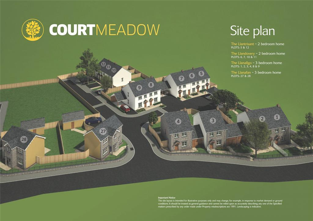 2 Bedrooms End Of Terrace House for sale in Court Meadow Phase II, Bronllys, Brecon, Powys