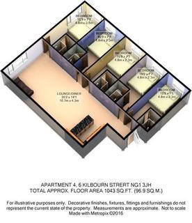 5 bedroom apartment to rent - Apartment 4, 6 Kilbourn Street, Nottingham, NG1 3JH