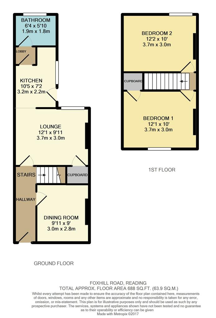 Foxhill road reading 2 bed terraced house 220 000 for Reading a floor plan