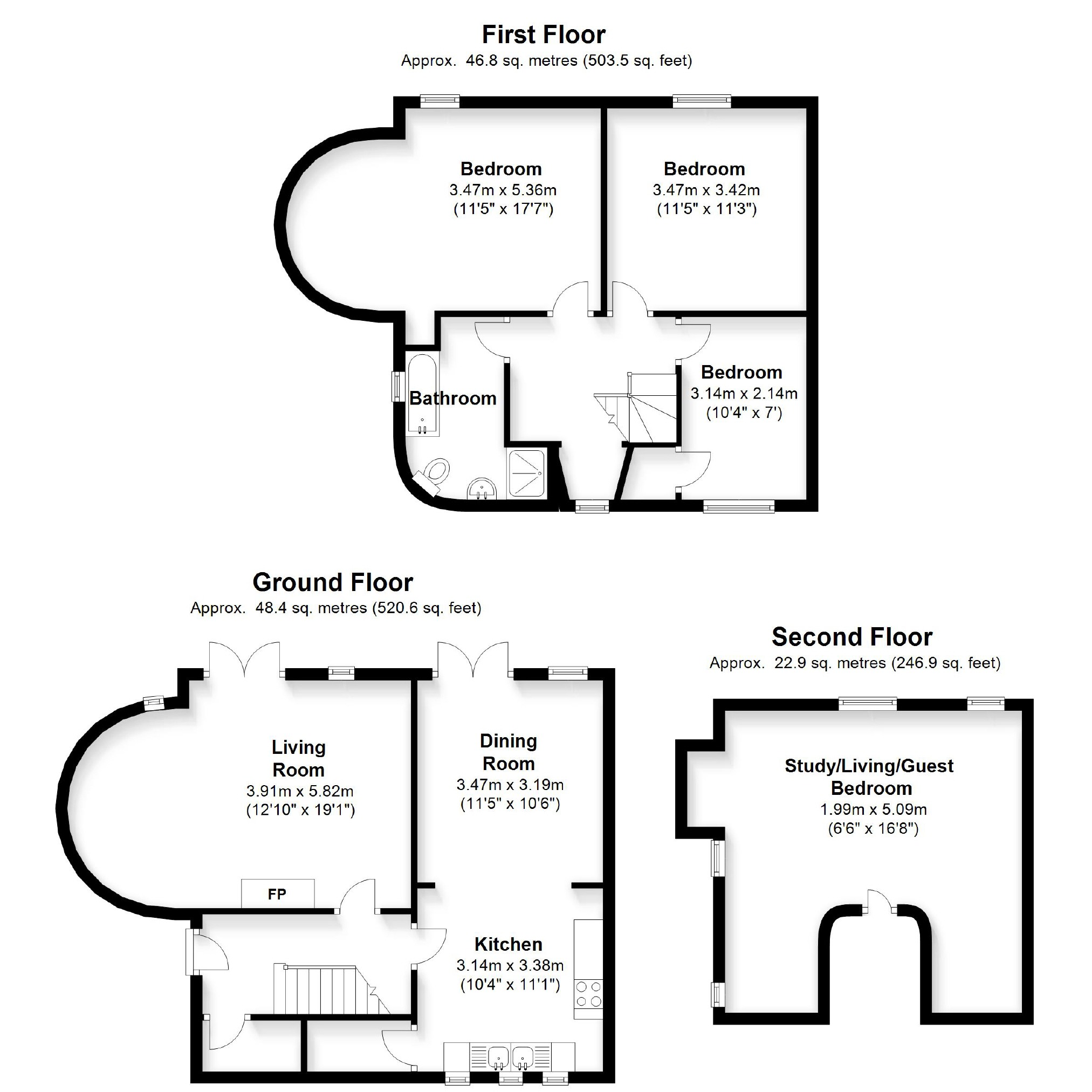 Eight bedroom main manor and a separate four bedroom gatehouse - Floorplan