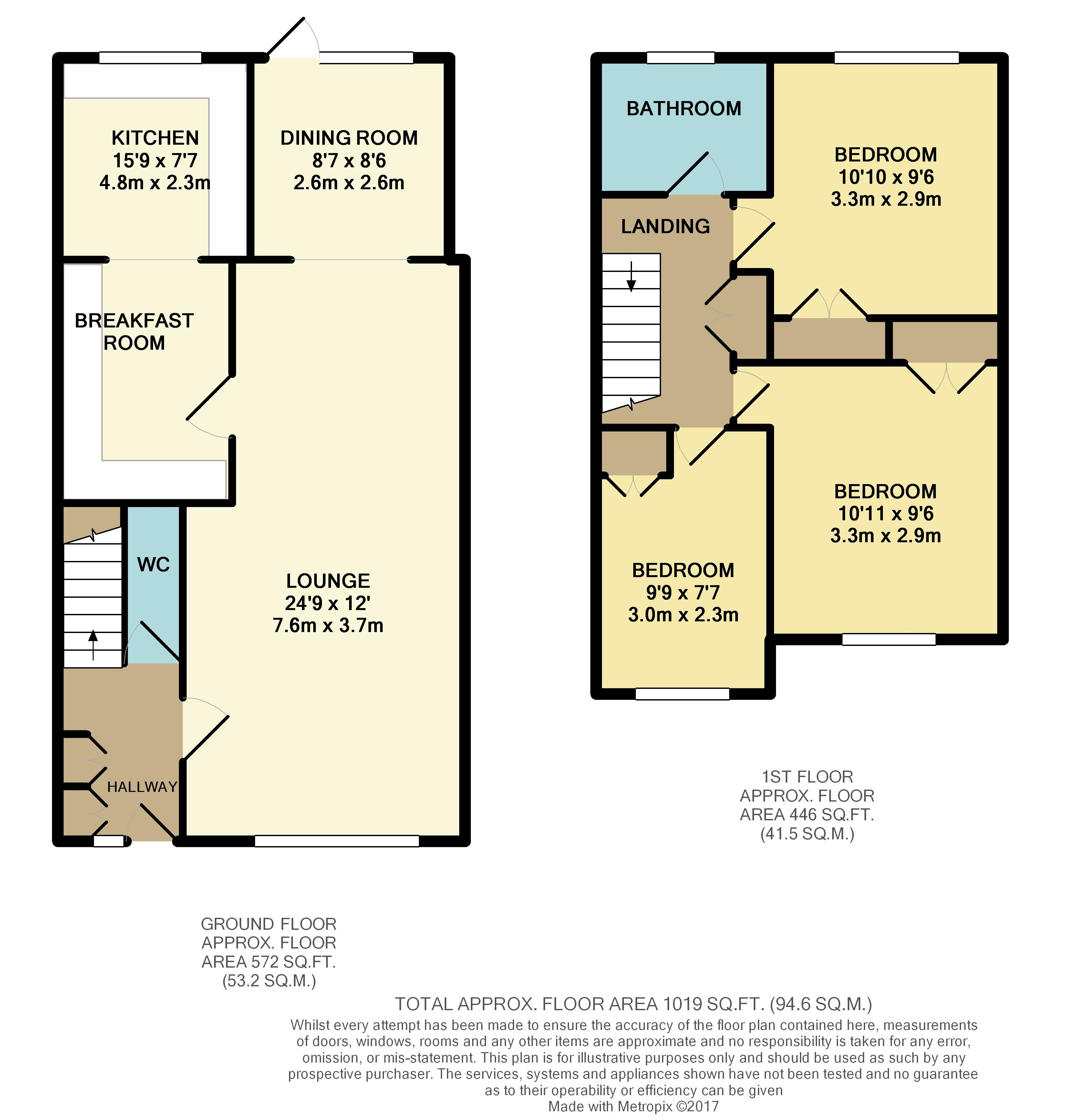 Mitford close reading rg2 8jq 3 bed end of terrace house for Reading a floor plan
