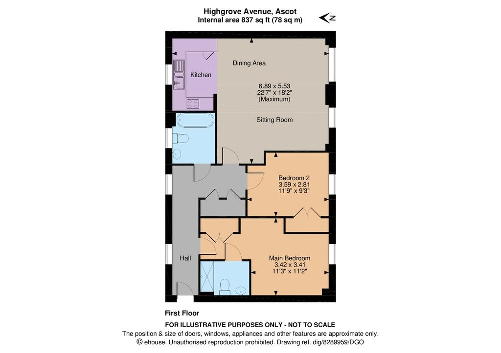 Highgrove avenue ascot sl5 2 bed flat 1 250 pcm 288 pw for Floor plan agreement