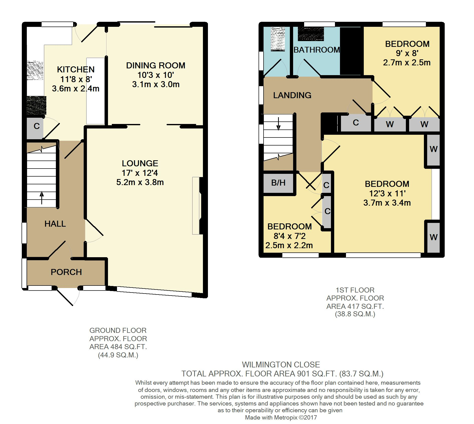 Wilmington close woodley reading 3 bed semi detached for Reading a floor plan