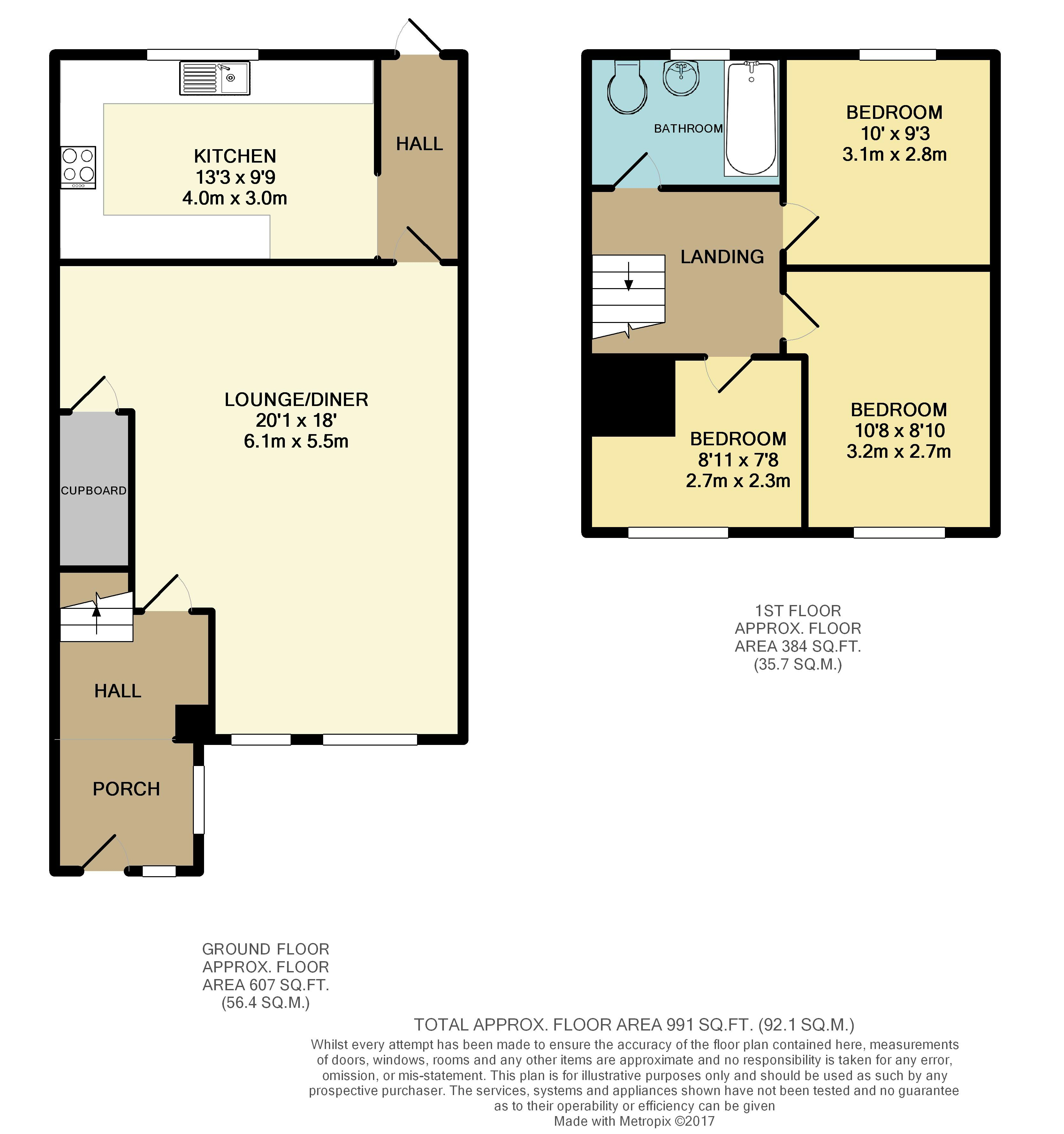 Margaret close reading rg2 8pu 3 bed terraced house for Reading a floor plan