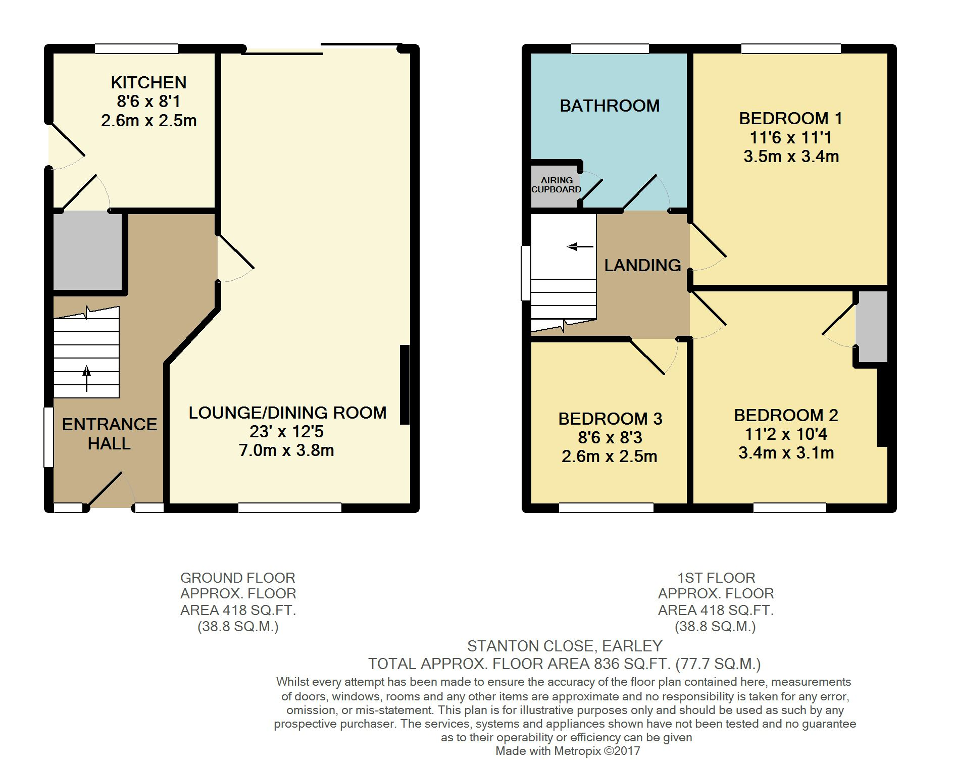 Stanton close earley reading 3 bed semi detached house for Reading a floor plan