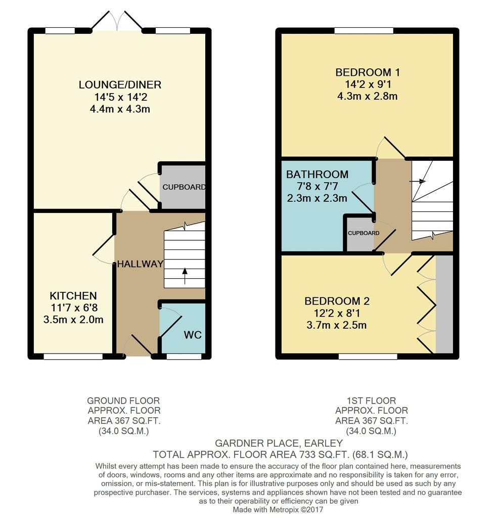 Gardner place earley reading 2 bed semi detached house for Reading a floor plan