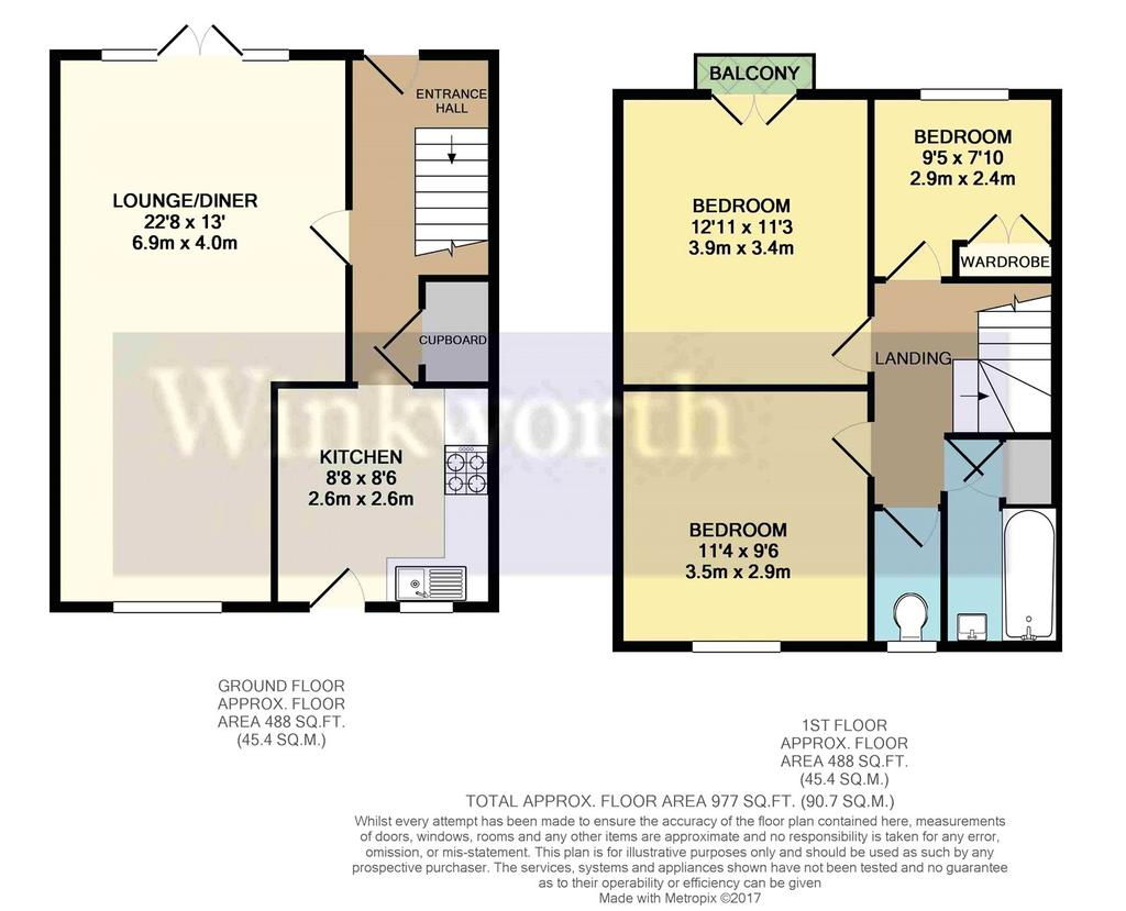 Hollins walk reading berkshire rg30 3 bed terraced for Reading a floor plan