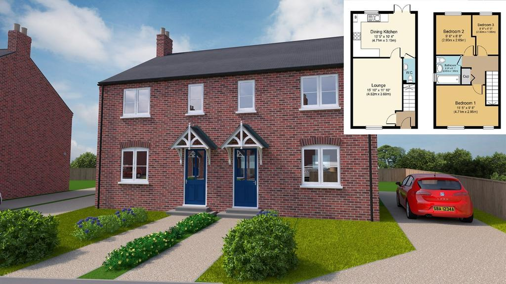 3 Bedrooms Semi Detached House for sale in Plot 12, Grimwood Close, Fleet, PE12