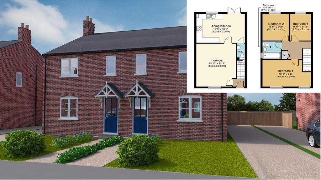 3 Bedrooms Semi Detached House for sale in Plot 16, Grimwood Close, Fleet, PE12