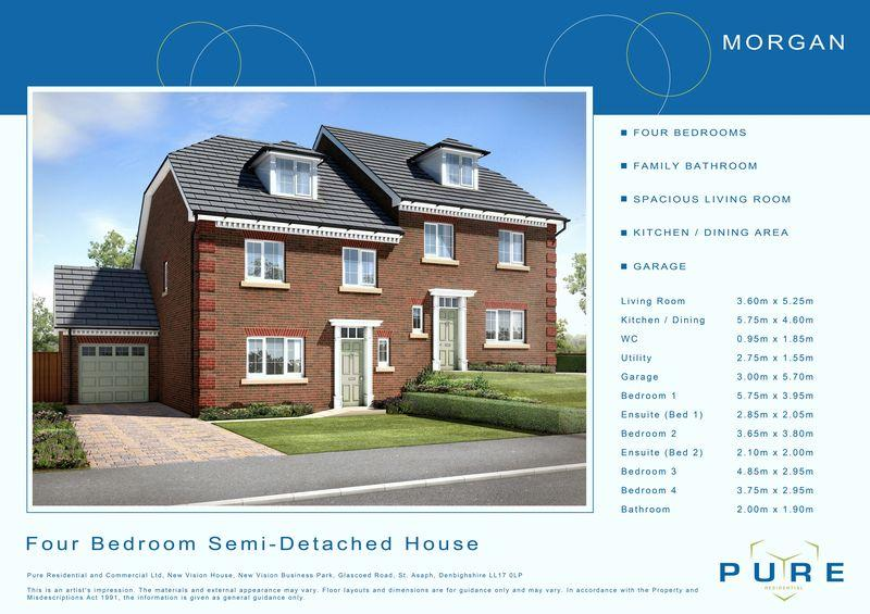 4 Bedrooms Semi Detached House for sale in Plot 6, Llys Chatsworth