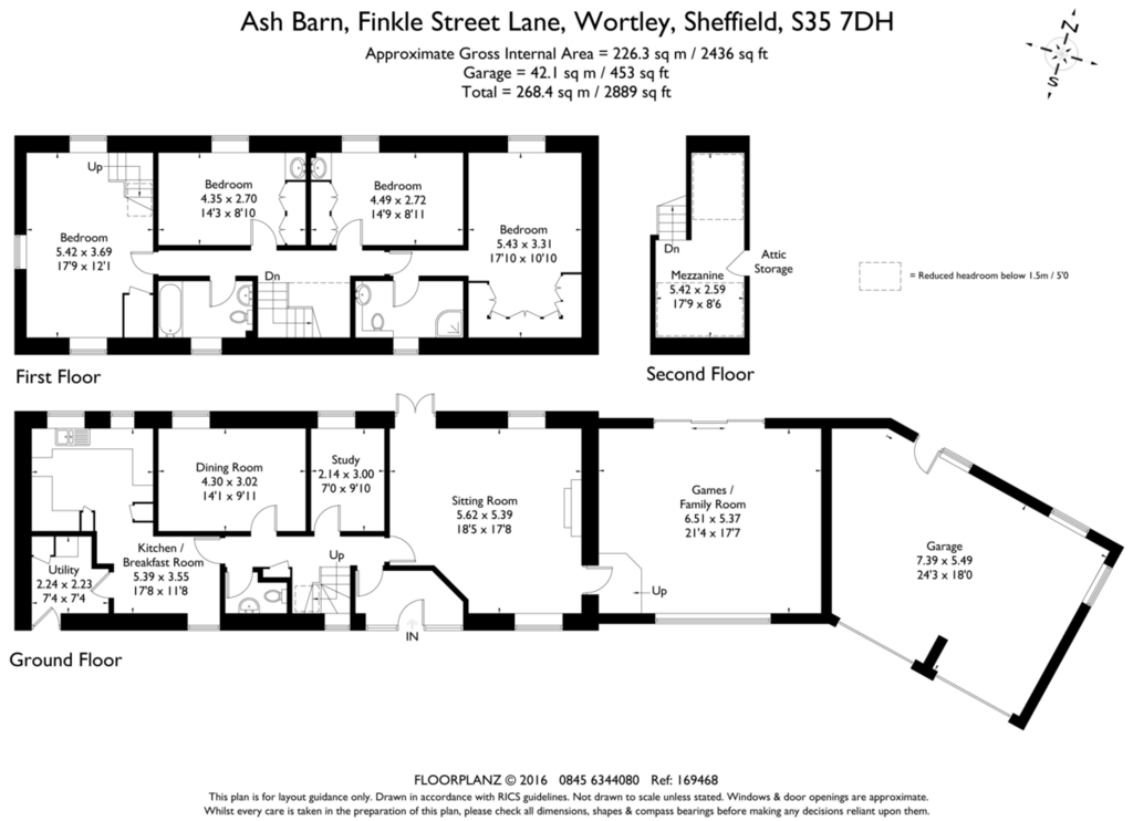 Ash barn wortley s35 4 bed barn conversion for sale for Barn conversion floor plans