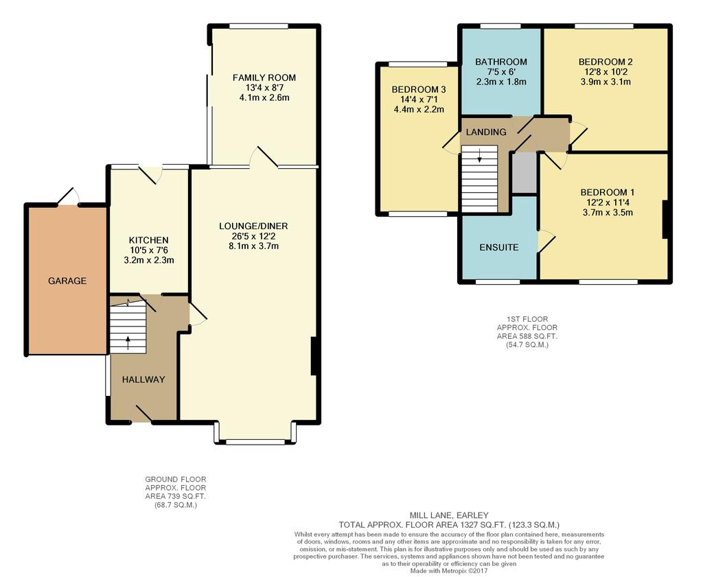 Mill lane earley reading 3 bed semi detached house for Reading a floor plan
