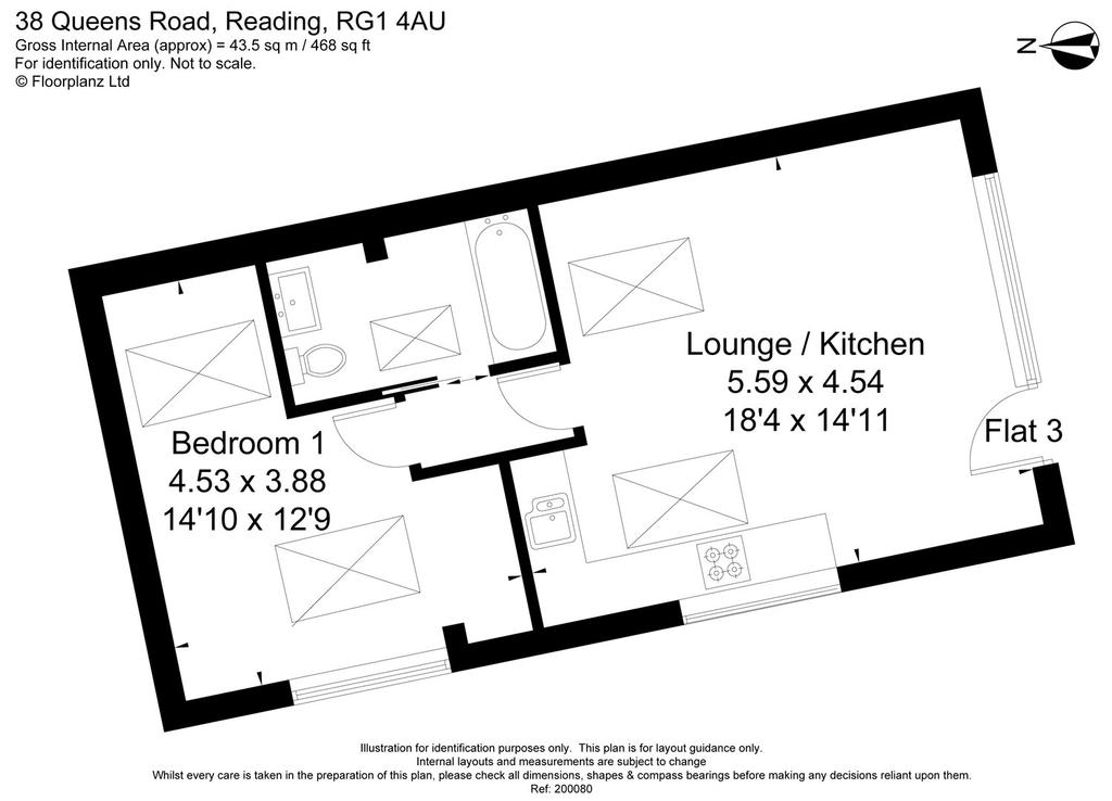 Queens road reading rg1 1 bed flat for sale 265 000 for Reading floor plans