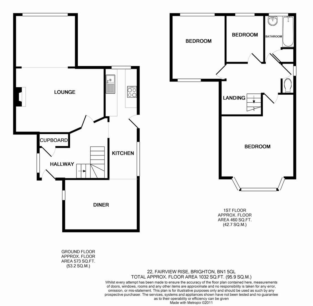 Kitchen Floor Plans With Dimensions 8 X 12 Yptzautc: Fairview Rise, Westdene, Brighton 3 Bed Semi-detached