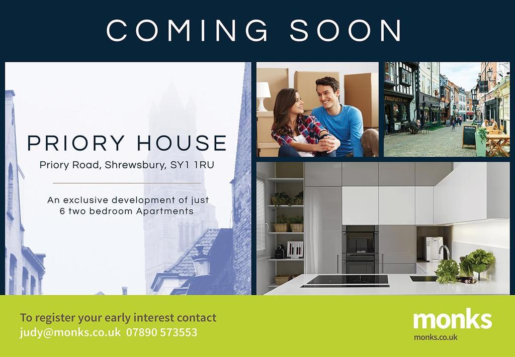 2 Bedrooms Apartment Flat for sale in Priory House, Priory Road, Shrewsbury