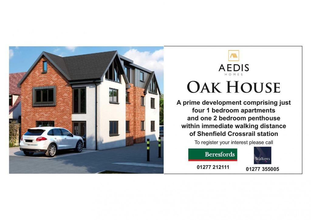 1 Bedroom Apartment Flat for sale in Oak House, Crossways, Shenfield, Essex, CM15
