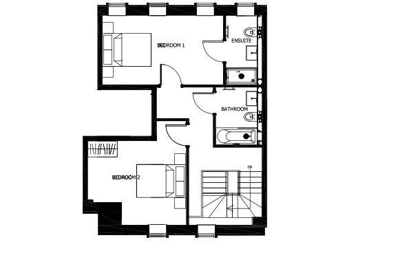 Floorplan 2 of 2: Typical Duplex Bedroom level