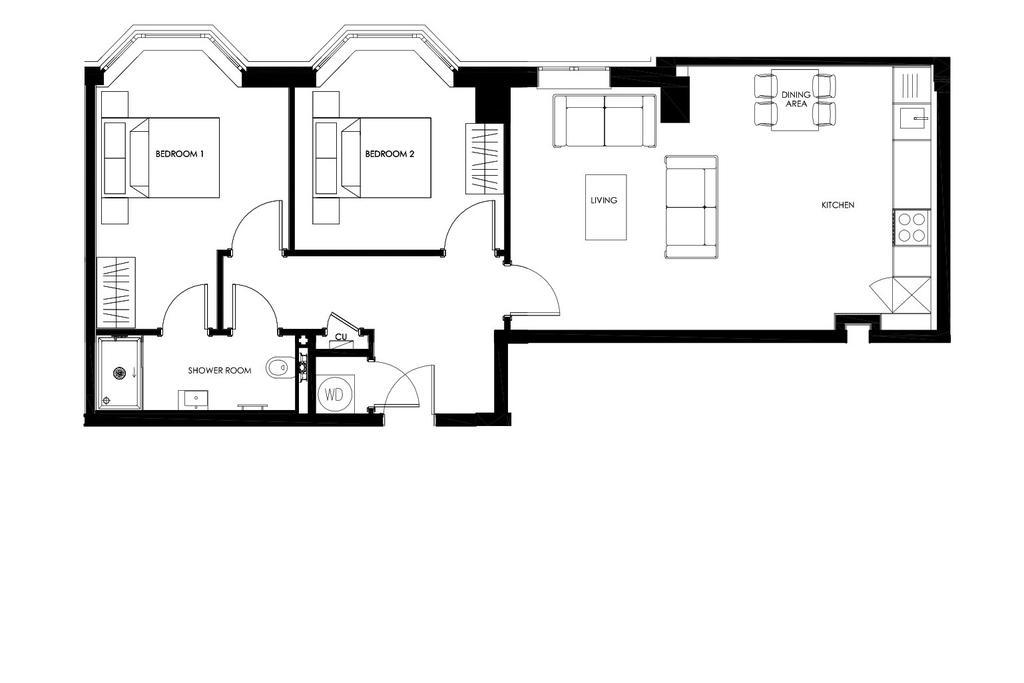 Floorplan: Typical 2 Bedroom Apartment