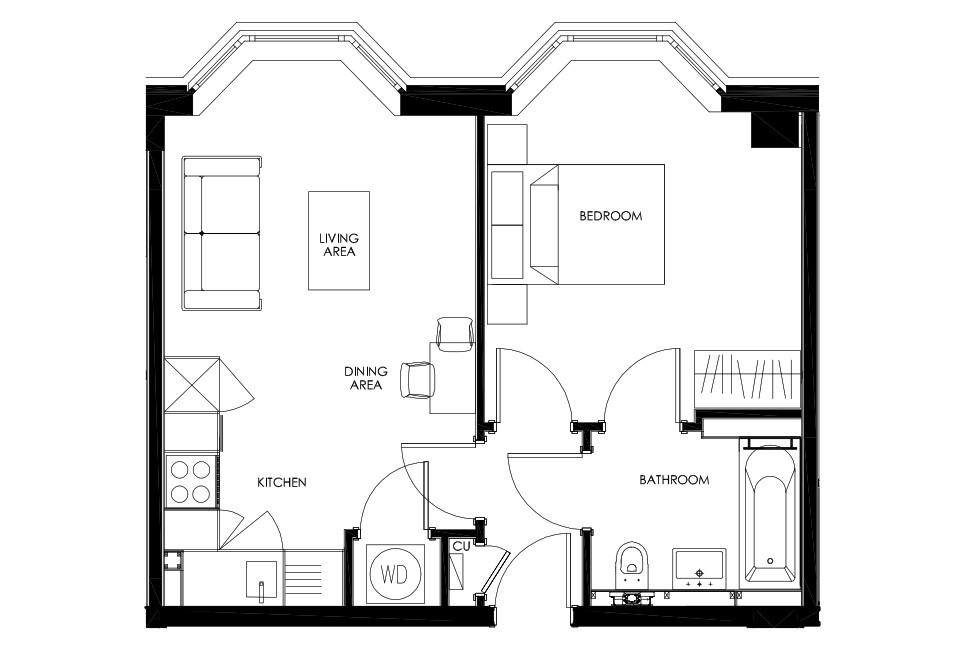 Floorplan: Typical 1 Bedroom Apartment