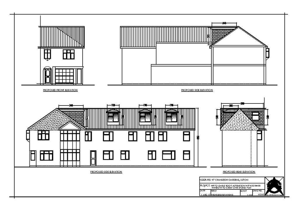 Floorplan 1 of 3: Cranleigh Gdns 97 Dormer Plng Proposed Elevations.