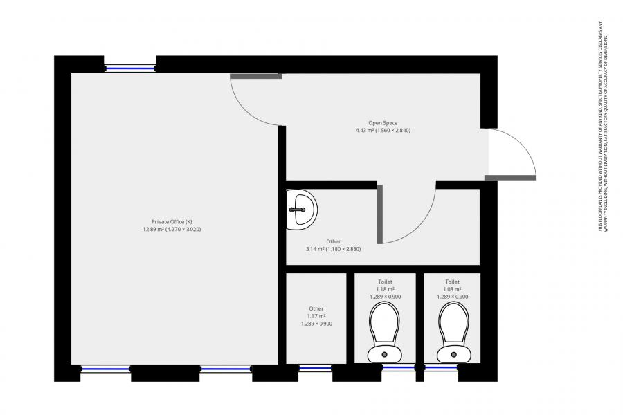 Floorplan: Office and Shared Toilets