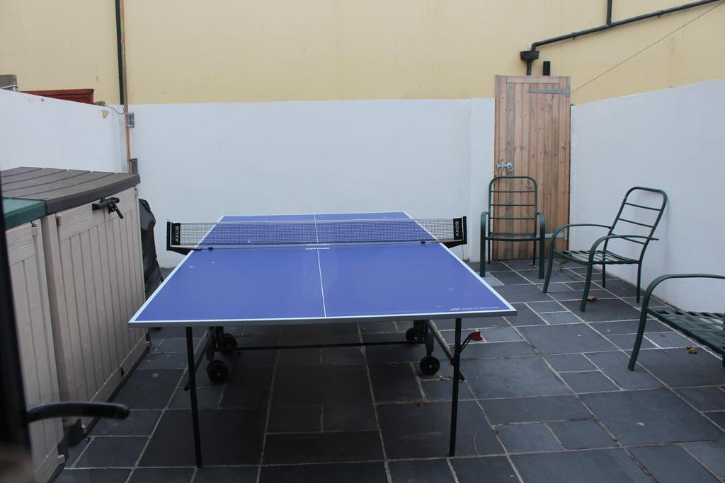 Rear patio with table tennis table