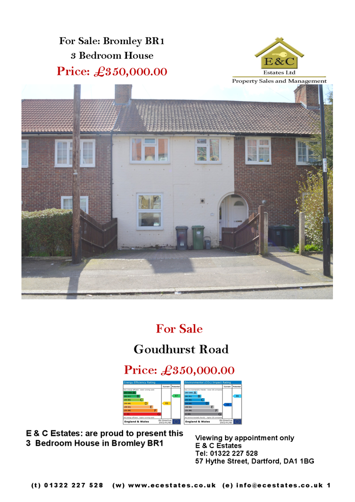 Goudhurst Road,Bromley,Kent 3 bed house for sale - £350,000