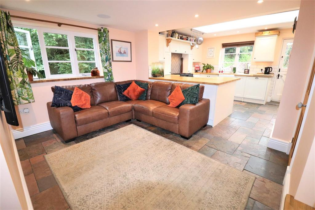 Open plan kitchen with family seating area
