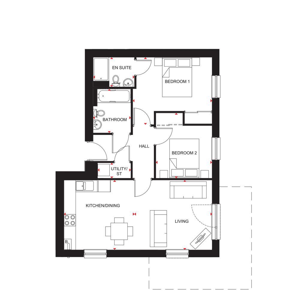 Floorplan: North Scotland Riverside Quarter H7354 Type 7 Floorplans