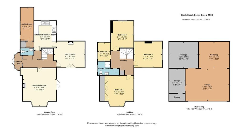 Floorplan: The Spinney, Single Street, Berrys Green, TN16 3 AB