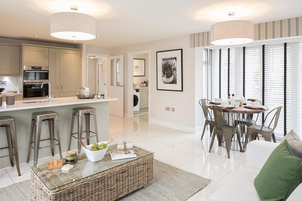 Open plan kitchen with family/breakfast area