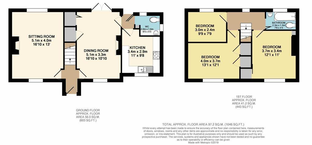 Floorplan: 3 Fortey Road Northleach print