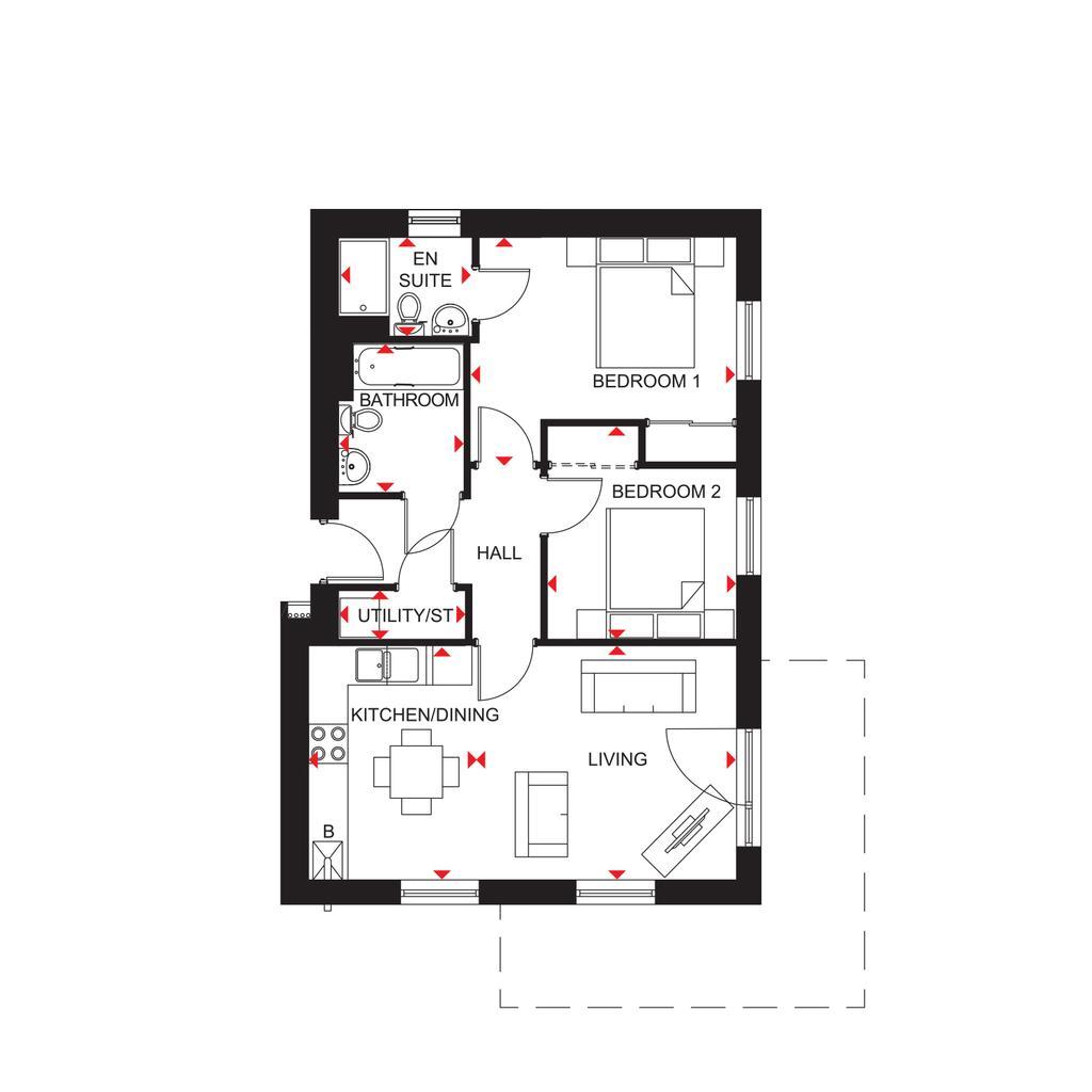 Floorplan: North Scotland Riverside Quarter H7354 Tay 2 Floorplans