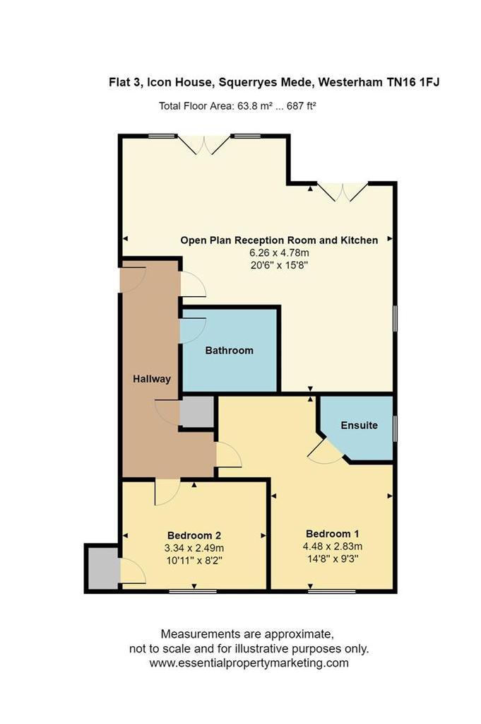 Floorplan: Flat 3, Icon House, Squerryes Mede, Westerham, TN1