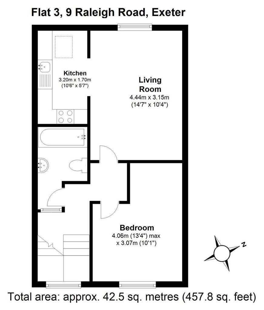 Floorplan: Flat 3, 9 Raleigh Road, Exeter.JPG