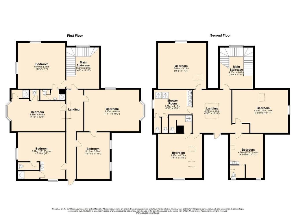 Floorplan 2 of 2: 2 D Floor Plan Upper Floors, Dolfirog Hall, Nr Llan