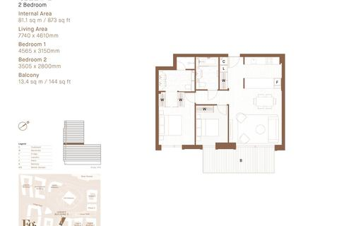 2 bedroom penthouse for sale - Embassy Gardens, Ponton Road, Nine Elms, Vauxhall, London, SW8