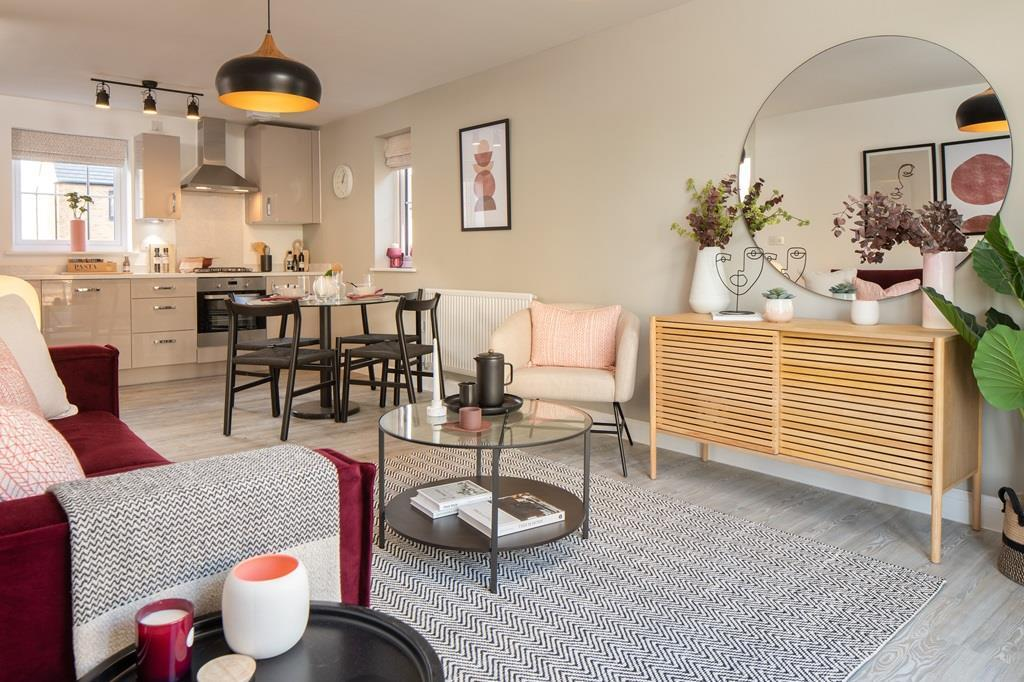 Inside view of the lounge, kitchen and dining area. Coleford apartment.