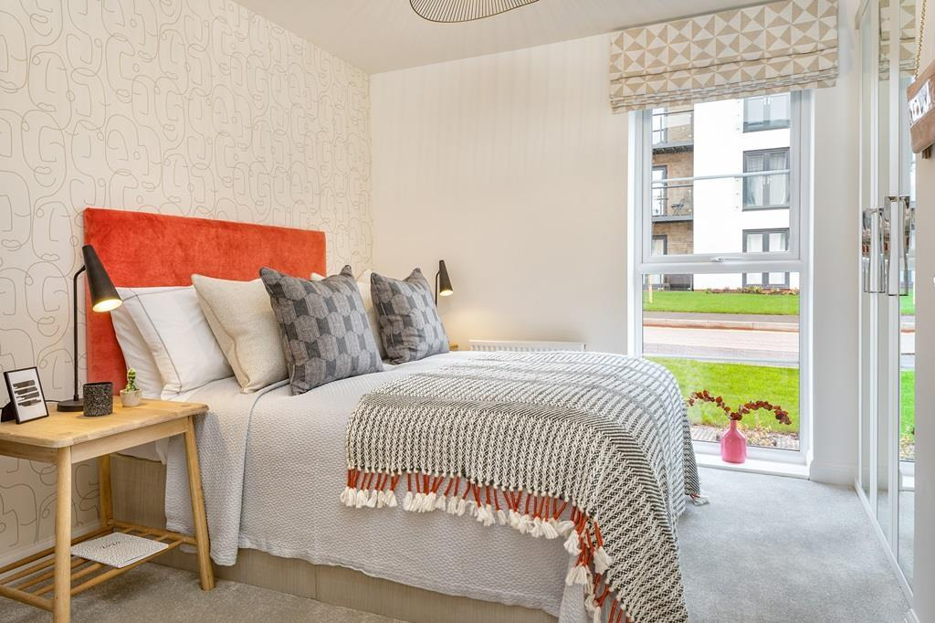 Internal image of the 2nd double bedroom in the Coleford Show Apartment at Ladden Garden Village, Ya