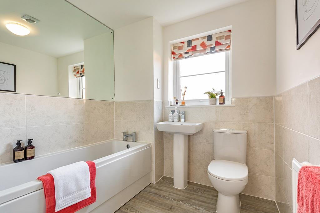 Internal image of the family bathroom in the Coleford Apartment at Ladden Garden Village, Yate.