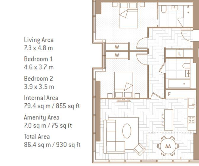 Floorplan: 63.02  Landmark Pinnacle    Two Bedroom Type A.JPG